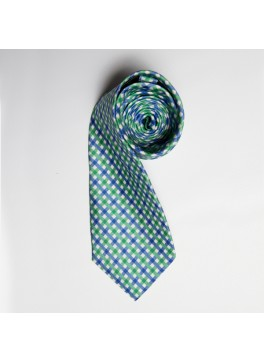 Green/Blue Watercolor Plaid Tie