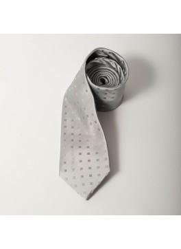 Silver Tonal Square Dot Tie