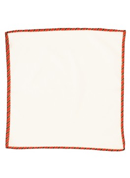 Cotton w/ Stripe Trim Pocket Square