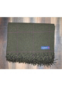 Olive and Purple Houndstooth Ermenegildo Zegna 100% Cashmere Throw