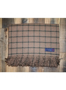 Tan and Brown Houndstooth Ermenegildo Zegna 100% Cashmere Throw
