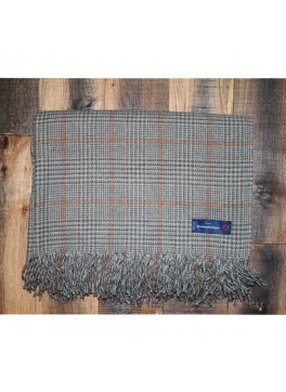 Brown and Peach Prince of Whales Ermenegildo Zegna 100% Cashmere Throw