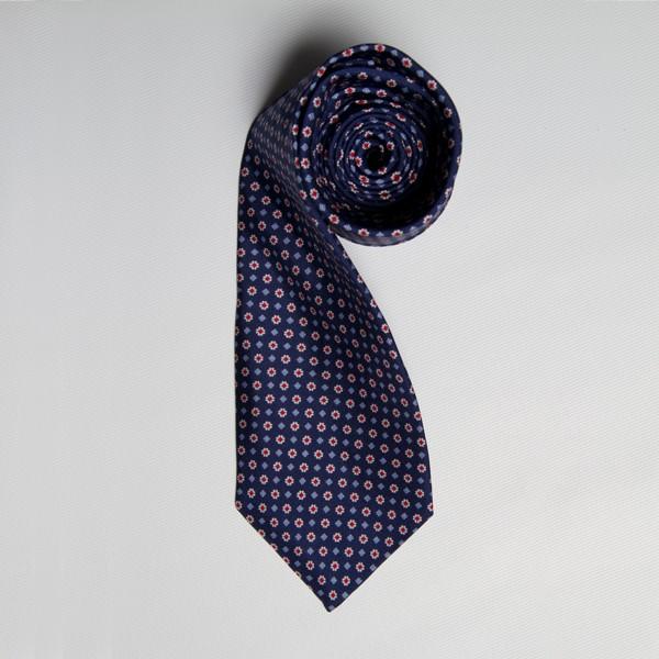 Navy/Red Floral Print Tie