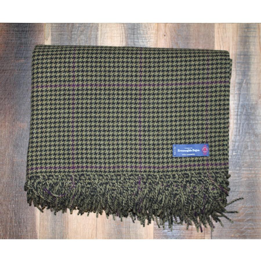 Olive and Purple Houndstooth Ermenegildo Zegna 100% Cashmere Throw