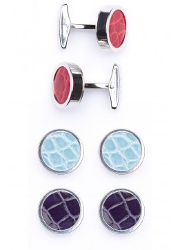 Interchangable Alligator Cufflinks (Red, Light Blue, Purple)