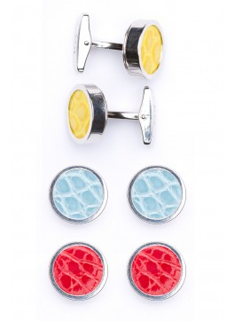 Interchangable Alligator Cufflinks (Yellow, Light Blue, Red)