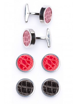 Interchangable Alligator Cufflinks (Pink, Red, Black)