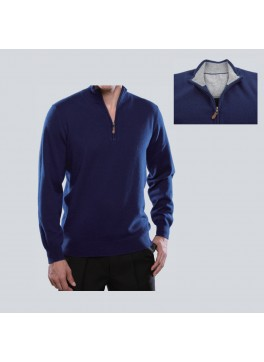 1/4 Zip Mock w/Inside Collar and Halfmoon Patch