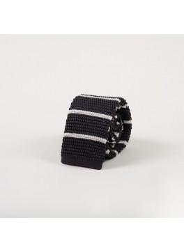 Grey w/ Horizontal White Stripe Knit Tie