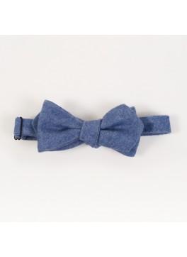 Blue Cashmere Diamond Point Bow Tie
