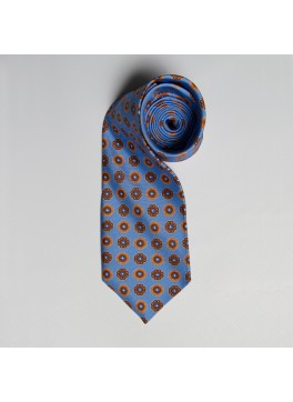 Light Blue/Orange Medallion Tie
