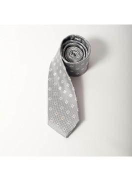 Silver/White Jacquard Tie