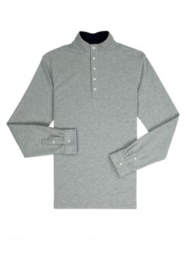 Mock Collar Pullover - Heather Grey Comfort Pique